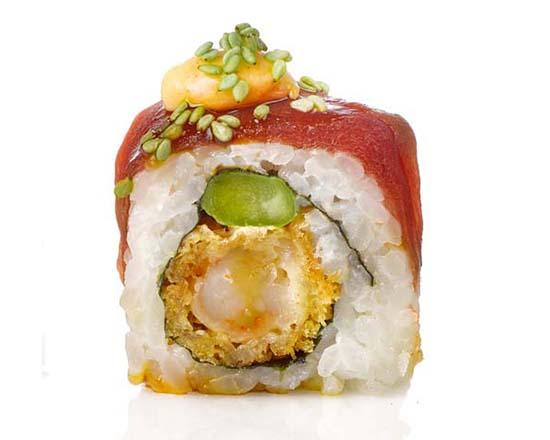 Atún come gamba, con wasabi y atún rojo de almadraba, de Miss Sushsi